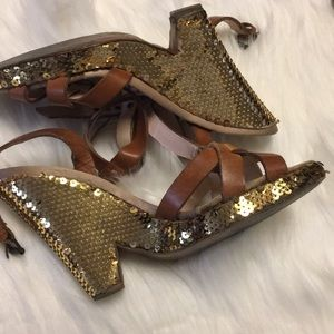 Moschino gold sequin wedges